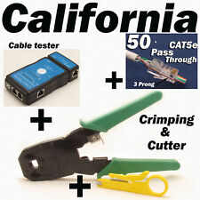 Cable Tester Crimper RJ45 CAT5e 50pcs Pass Through Network Cable Connector Plug