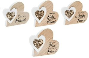 twin heart wooden free standing plaque auntie/ sister/ friend/ nan present gift