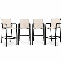 4 PCS Counter Height Stool Patio Chair Steel Frame Leisure Dining Bar Chair