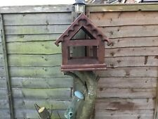"""Bird Table Feeder Solid Pine 12""""x10""""Dark Oak Stained FREE POSTAGE Hand Made Uk"""