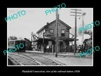 OLD LARGE HISTORIC PHOTO OF PLAINFIELD CONNECTICUT THE RAILROAD DEPOT c1920