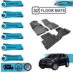3D Molded Interior Car Floor Mat for Kia Sportage 2016-UP(Black)