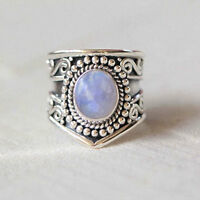 Rainbow Moonstone Ring 925 Solid Sterling Silver Handmade Jewelry (US-RBM-012)