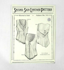 Vtg 80s Laced Shirt Leather Pattern Corset Second Skin Leatherwork Uncut NOS