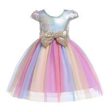 Kid Girl Sequins Bowknot Rainbow Tutu Dress Birthday Party Fancy Costume Dresses