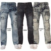 New ETO Mens Funky Style Branded Straight Regular Fit Jeans Blue All Waist Sizes