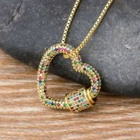 Classic Rainbow Carabiner Pave Lock Heart Shaped Zirconia Necklace Jewelry Gift
