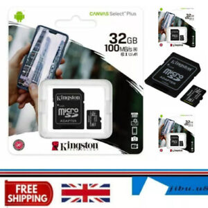 32GB Kingston Micro SD SDHC Memory Card Class 10 up to 100MB/s & SD Card Adapter