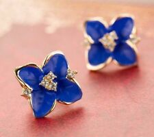 Elegant Blue Flower Earrings ~ Floral Earrings with Crystal Rhinestones