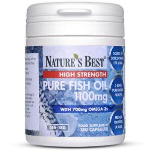 Pure Fish Oil 1100mg High Strength With EPA 360mg & DHA 240mg - 180 Capsules