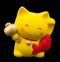Hucha Gato Japonés 10.5CM Y Su Poisson Manekineko Fabricado En Japón-amarillo