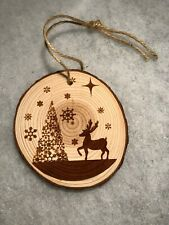 "Rustic Wood Slices, Xmas tree scene, Christmas 3 1/2"" Ornament, laser engraved"
