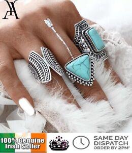 3PCS Vintage Ring Set Punk Silver Triangle Geometric Stone Rings Romantic BOHO