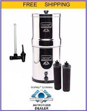"Big Berkey Water Filter Purify w 2 Black Filters and 7.5"" Water Level Spigot"