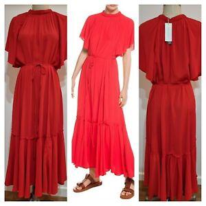 BNWT VERONIKA MAINE Maxi Dress Size 16 XL | Red Midi Summer Dress | RR$339