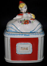 Regal Red Riding Hood  Vintage Gold Decorated Flour Canister