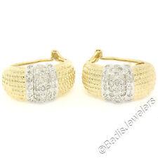 14K Yellow & White Gold 1.0ctw Round Diamond Textured Huggie Cuff Omega Earrings