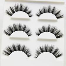 3 Pairs 100% Real 3D Mink Makeup Cross False Eyelashes Eye Lashes Handmade NEW