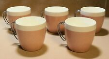 Vtg SET NFC Thermal Coffee Cups Mid Century Modern Atomic Plastic Chrome Pink