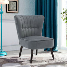 Retro Cocktail Wing Back Chair Button Velvet Fabric Tub Occasional Sofa Armchair