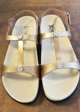 MEPHISTO Air-Relax Size 37 / 7 Gold Tone Leather T-Strap Sandals Excellent!!!