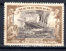 More details for gb lucitania sinking 1915 cinderella stamp scarce brown mh [230521]