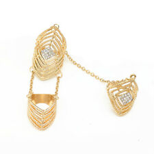 Rhinestone Double Full Finger Joint Chain Knuckle Armor Hollow Out Ring Gold