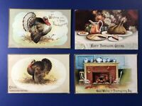 THANKSGIVING 4 Antique Postcards Clapsaddle. Collector Items1900s.Value Unposted