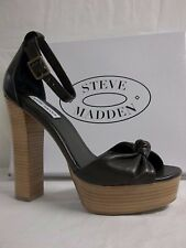 Steve Madden Size 10 M Marcy Black Leather Open Toe Heels New Womens Shoes