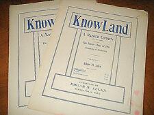 """2 PIECES SONG MUSIC  from KNOWLAND E M Allen 1911 UNIV MINN MUSICAL  """"Meet Me"""" +"""