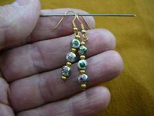 6 mm bead dangle Earrings Jew 00004000 elry (ee610-62) White pink flower Cloisonne three