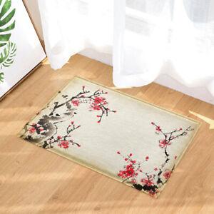 Vintage Red Ink Cherry Blossom Bathroom Rugs Bath Mats Mat Small Carpet