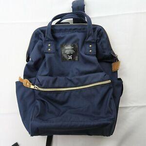 Anello Japanese Backpack Small Navy Rucksack School Bag Gold Zip