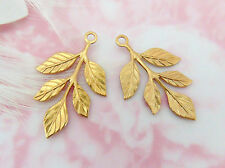 BRASS (4 Pieces) Cascading Leaf Stamping Drops ~ Jewelry Findings (E-150) *