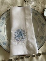 High Quality 60/40 Linen/Cotton Blend 21 Inch Hemstitched Monogrammed Napkins