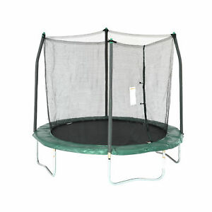 Skywalker Kids 8 Ft Round Trampoline with Safety Net Enclosure, Green (Used)