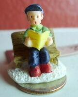 Christmas Miniature Victorian Village Boy on a Bench Grandeur Noel  1995