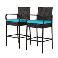 Set of 2 Bar Stool Outdoor Patio PE Wicker Barstool Pool High Chair w/ Cushions