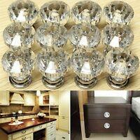 12PCS Diamond Crystal Glass Door Drawer Cabinet Wardrobe Pull Handle Knob  l