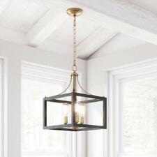 Home Decorators Boswell Quarter 3-Light Vintage Brass Chandelier w/ Wood Accents