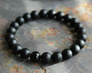 Fashion Men Matte Black Onyx Yoga Energy Beaded Boyfriend Bracelets Jewelry Gift