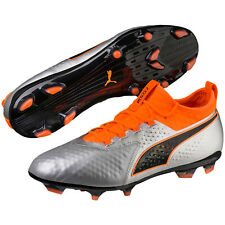 PUMA ONE 2 II Leather FG Soccer Cleats - Silver Black Orange - Mens Size 13