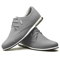 Mens New Black Classic Grey White Leather Suede Boys School Work Trainers Shoes