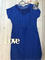 Per Una Size 14 cobalt blue tie waist beaded holiday party occasion dress VGC