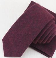 Vintage Burgundy Red Mens Soft Cotton Skinny Tie. Excellent Quality & Reviews.