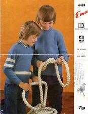 Vintage Emu 6494 knitting pattern, Boy's Jumpers, 24 - 34 Inch