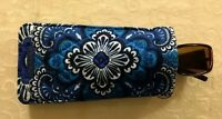 New Vera Bradley Sunglass Eyeglass Sleeve Case Blue Tapestry #181124-651