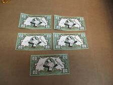 (5) REPLACEMENT 1991 FRANKLIN MINT COLLECTOR'S MONOPOLY $20 BILL DOLLAR MONEY