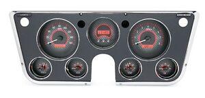1967-72 Chevy Truck C10 Dakota Digital Carbon Fiber & Red VHX Analog Gauge Kit