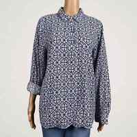Talbots Abstract Tile Print Popover Blouse Shirt LARGE Blue Coral Pink Roll Tab
